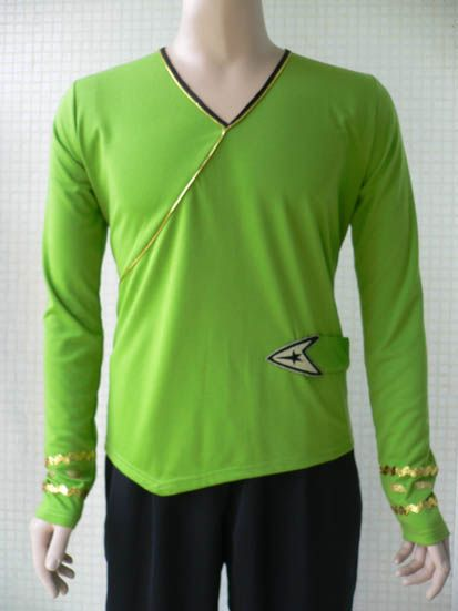 Star Trek Costume TOS Green Wrap Command Shirt Uniform Cotton Halloween Dress